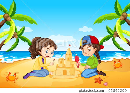 Ocean scene with people having fun on the beach 65842290