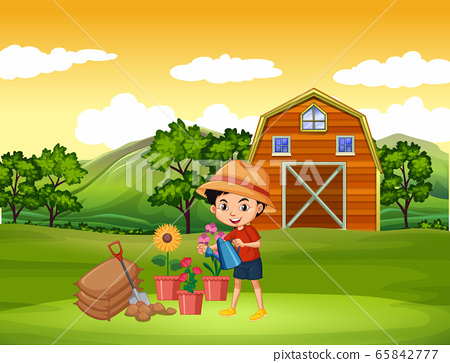 Farm scene with boy watering the flowers on the 65842777