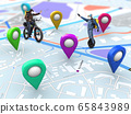 Home delivery, food purchase via the Internet. Deliveryman on bike arriving to any address worldwide on the map with your order. 65843989