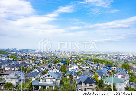 교외의 주택지와 거리 65844612