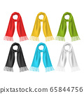 Realistic 3d Detailed Soft Color Scarf Set. Vector 65844756