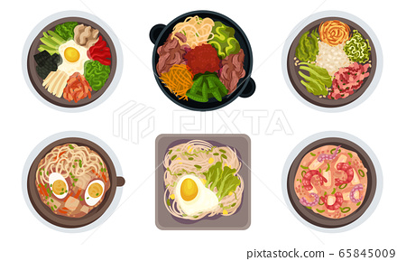 Asian Food with Noodle Soup and Rice Served with Vegetables Vector Set 65845009