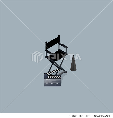 Vector Director's Set.Director chair and  clapboard. Isometric View. 65845394
