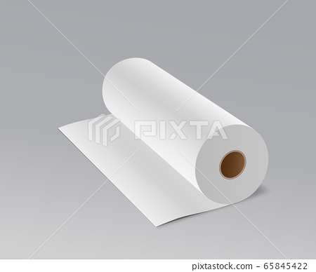Tissue long roll white paper ,on gray background 65845422
