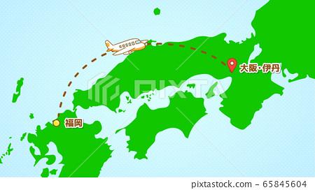 Illustration explaining a simple airplane movement (from Fukuoka to Itami) 65845604