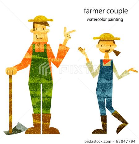 농부 시장 농부 부부 수채화 텍스처 65847794