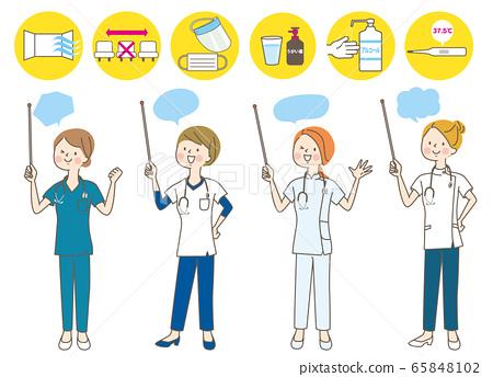 年輕女子醫生護士操縱醫生白大衣指向棍子麵部表情集 65848102