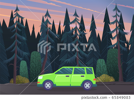 Summer time family trip. People traveling by car on the road in the forest. Traveling together 65849083