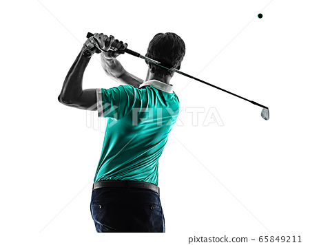 Man Golf golfer golfing isolated shadow silhouette white background 65849211