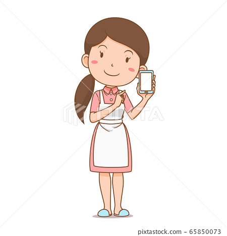 Cartoon character of housewife shopping online via smartphone. 65850073