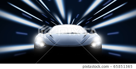 High speed black sport car in the night 65851365