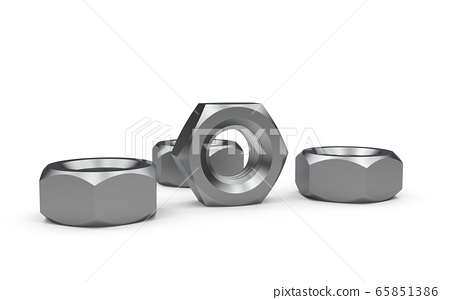 Metal nuts isolated on a white background 65851386