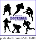 Silhouettes American football players isolated on the white 65851609