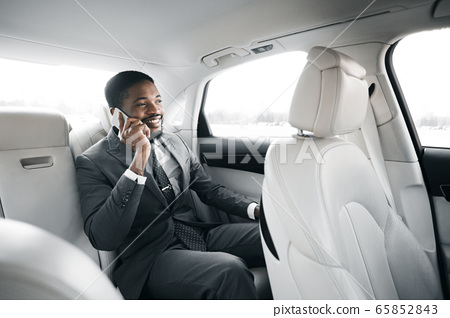 Successful Businessman Talking On Phone Sitting In Luxury Car 65852843