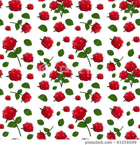 Seamless pattern with cute red roses flowers and 65856099
