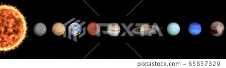 Solar system planets in outer space near sun. 65857329