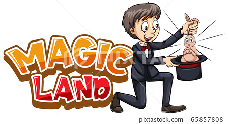 Font design for word magic land with magician and 65857808
