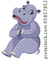 Cute hippo sitting on white background 65857852