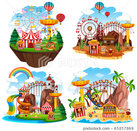 Themepark scene with many rides on islands 65857869