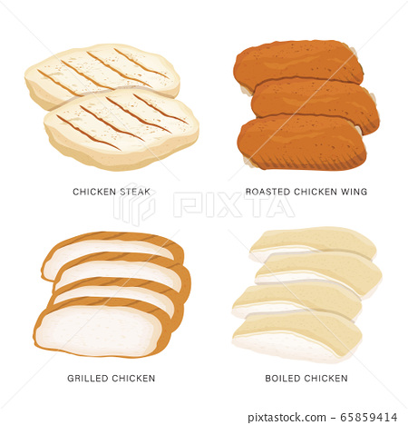 Set of food Chicken sliced isolated on a white background. Cartoon Vector illustration 65859414