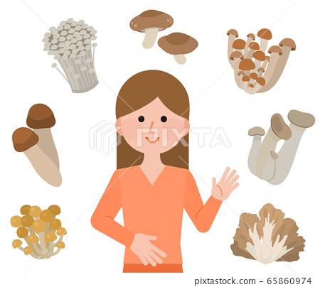 蘑菇菌女性插圖 65860974