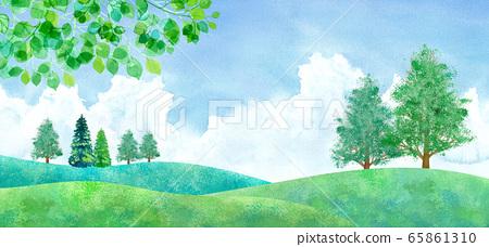 新鮮的綠色平原和積雨雲,水彩插圖的景觀 65861310