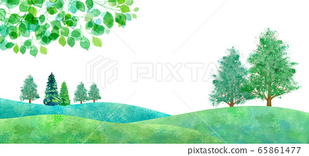 新鮮的綠色平原景觀,水彩插圖 65861477