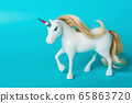 Unicorn with a transgender flag color horn 65863720
