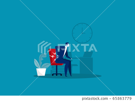 Businessman Suffering from Back Pain on office Illustration 65863779