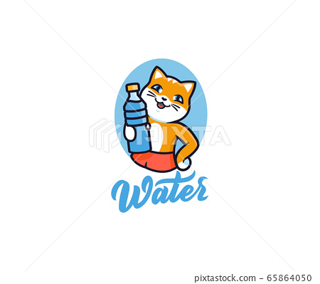 The kitty with bottle water, logo. Logotype cat with lettering 65864050