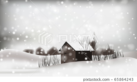 Small cottages located on scenic winter with dim atmosphere 65864243