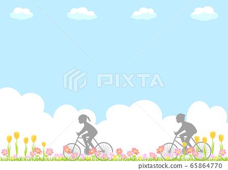 자전거 사이클링 꽃 풍경 65864770