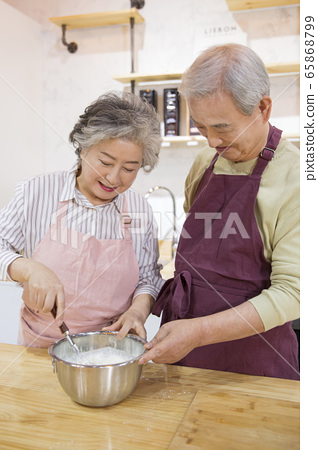 Happy senior life concept. Healthy activities in daily life of senior couple 257 65868799