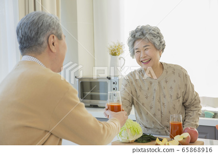 Happy senior life concept. Healthy activities in daily life of senior couple 197 65868916