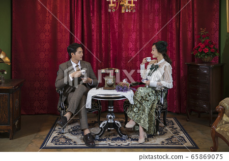 Portrait of female and male in retro fashion and vintage concept 110 65869075