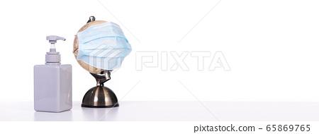 World pandemic globe mask Coronavirus 65869765