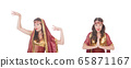 Woman in eastern dress isolated on white 65871167