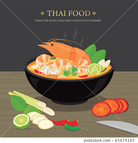 Set of Traditional Thai food, Tom Yum Kung is Thai spicy soup with shrimp. Cartoon Vector illustration  65874183