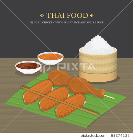 Set of Traditional Thai food, Grilled chicken with sticky rice and spicy sauce over banana leaf. Cartoon Vector illustration  65874185