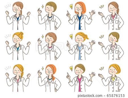 年輕女子醫生護士按摩師實驗室外套表情集 65876153