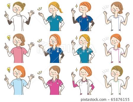 年輕女子醫生護士按摩師實驗室外套表情集 65876155