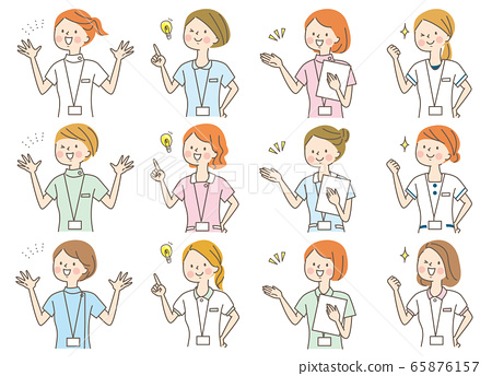 젊은 여성 의사 간호사 정체 사 백의 표정 세트 65876157