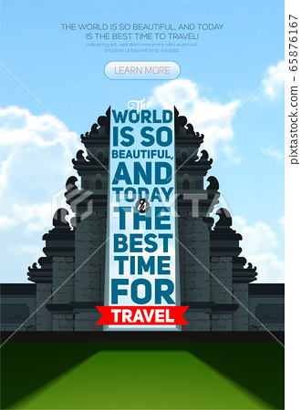 Vector poster with Hindu temple Pura Besakih. Bali. Indonesia, Best time to travel 65876167