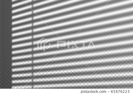Realistic transparent drop shadow from the blinds on a wall, striped overlay effect for photo, design presentation. Vector illustration 65876223