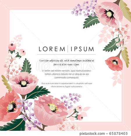 Vector illustration of a beautiful floral frame with spring flowers. Design for banner, poster, card, invitation and scrapbook 65878403