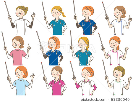 Young woman doctor nurse chiropractor lab coat facial expression set 65880040