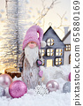 Christmas composition with gnome, huts and balls 65880169