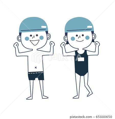 어린이 수영 수영복 준비 운동 65880650