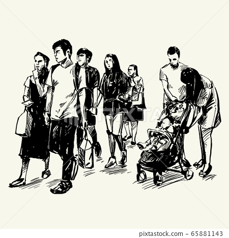 Drawing of people are walking in Singapore  65881143