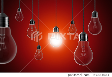 Light bulbs on a red background 65883083